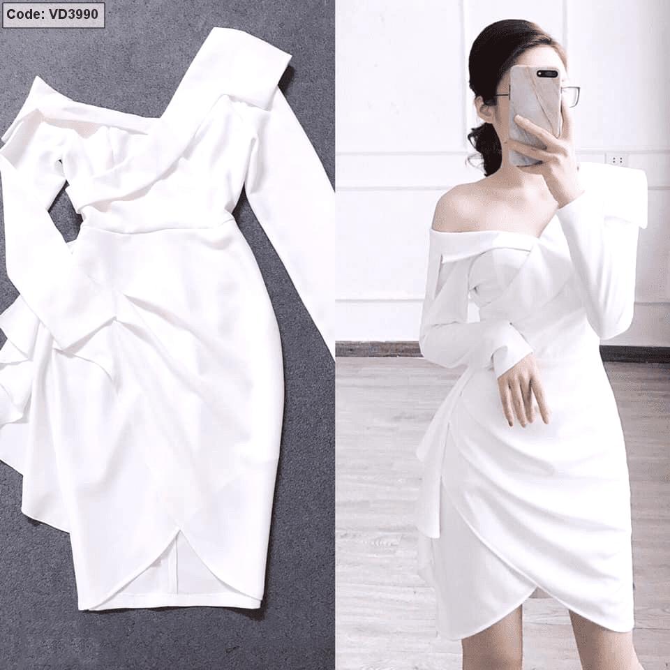 Đầm body trắng lệch vai cổ vest bèo 1 bên giá sỉ