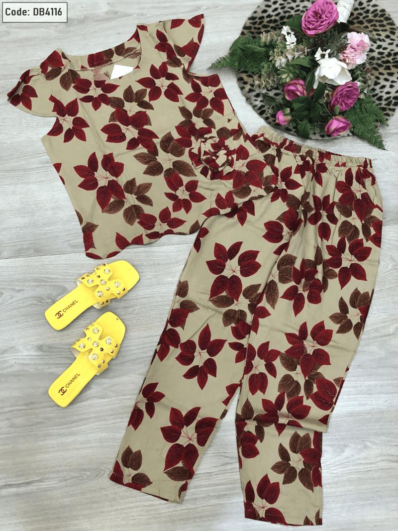 Đồ bộ nữ quần dài tay con kết hoa