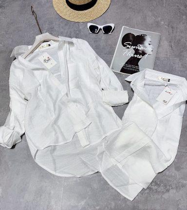 Áo sơ mi trắng form rộng vải xược gân