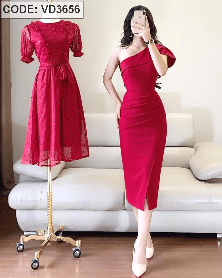 Đầm đỏ body lệch vai xếp eo